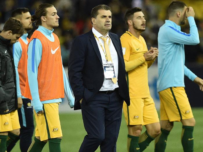 Australia's coach Ange Postecoglou not entirely happy after 1-1 draw at home vs Japan in World Cup qualifier, Melbourne, 2016-10-11