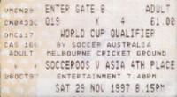 Ticket to Australia vs Iran World Cup Qualifier, MCG, Melbourne, 1997