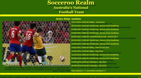 The old Socceroo Realm website