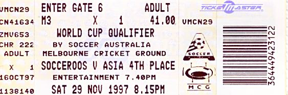 Ticket for Australia vs Iran 1997 World Cup Qualifier MCG
