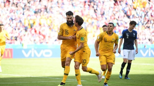 Mile Jedinak scores a penalty for Australia against France at World Cup Russia 2018