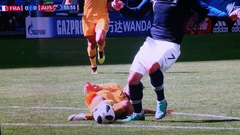 Risdon/Griezmann penalty France vs Australia World Cup Russia 2018